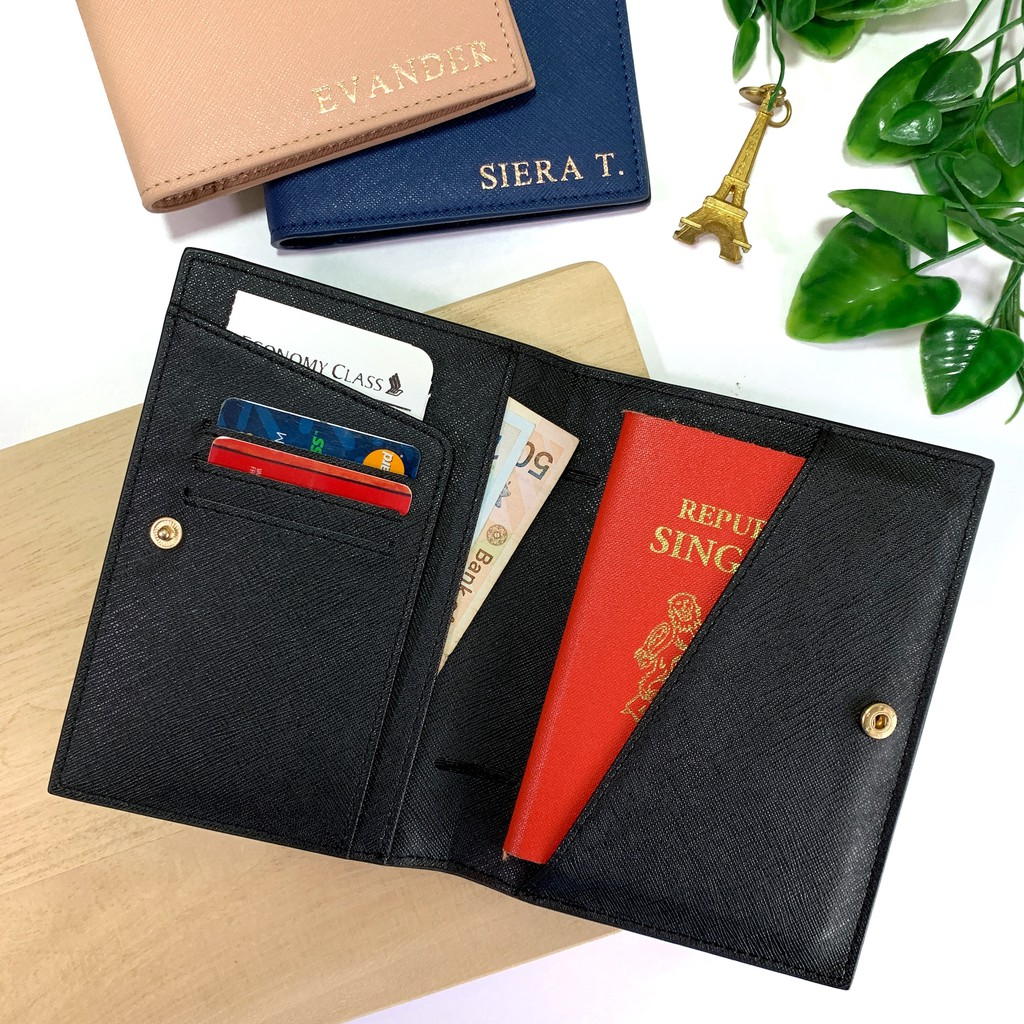 7c08e0a0e0a8 Personalised Leather Passport Holder - Saffiano Microfiber Leather -  Monogram with initials / Name