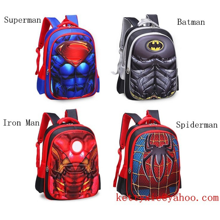 fe0c360494b8 Superhero Kids Boys 3D Spiderman School Bag Backpack Batman Avenger Shoulder  Bag