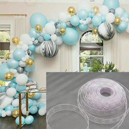 Party Balloon Chain Strip Decor 1.6cm Transparent Plastic Anniversary 5m Tape