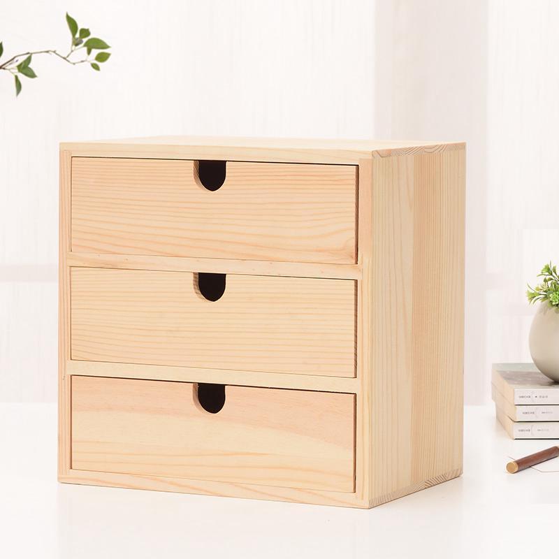 Solid Wood Storage Box Desktop Wooden Cosmetics Ikea Multi Layer Drawer Offi