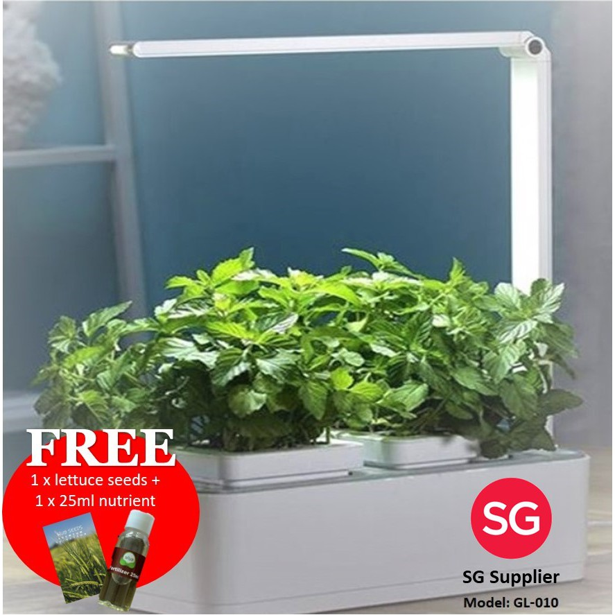 Hydroponics Indoor Smart Garden with LED Grow Light c/w FREE lettuce seeds  & 25ml fertilizer | Shopee Singapore