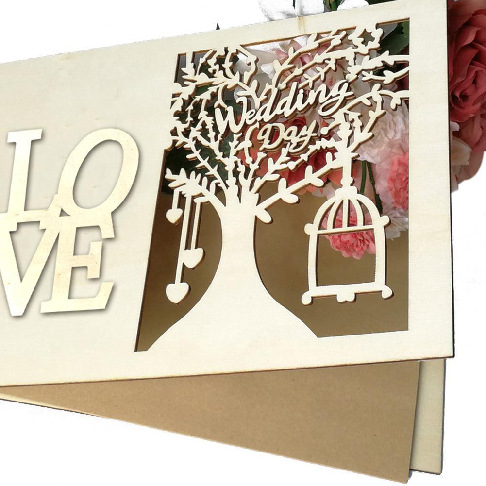 Wedding Guestbook Wooden Love Hollow