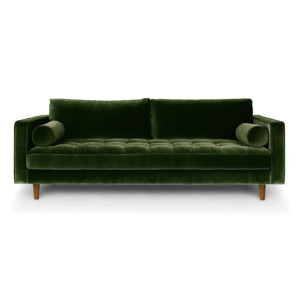 Ashla Green Velvet Fabric Sofa 1