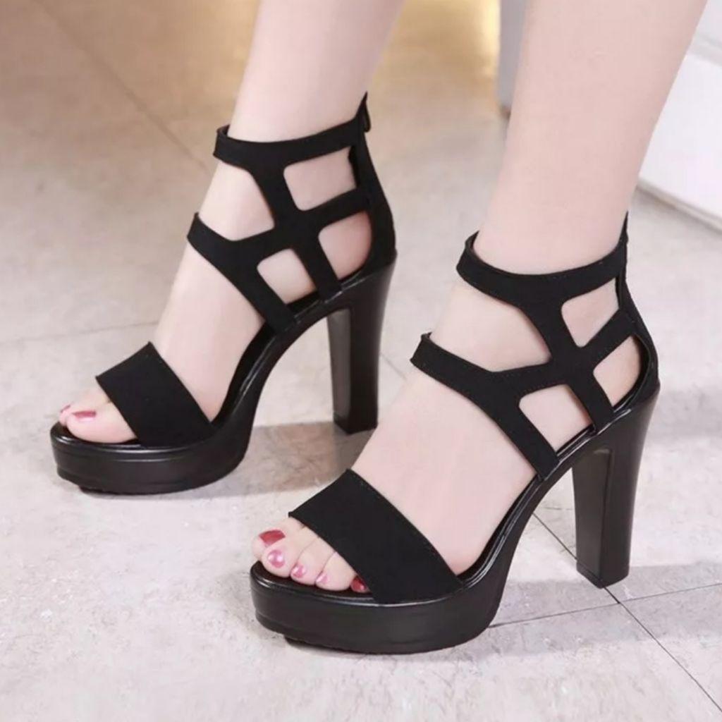 d9d457028c (PO) Suede Peeptoe Platform High Heels Sandals | Shopee Singapore
