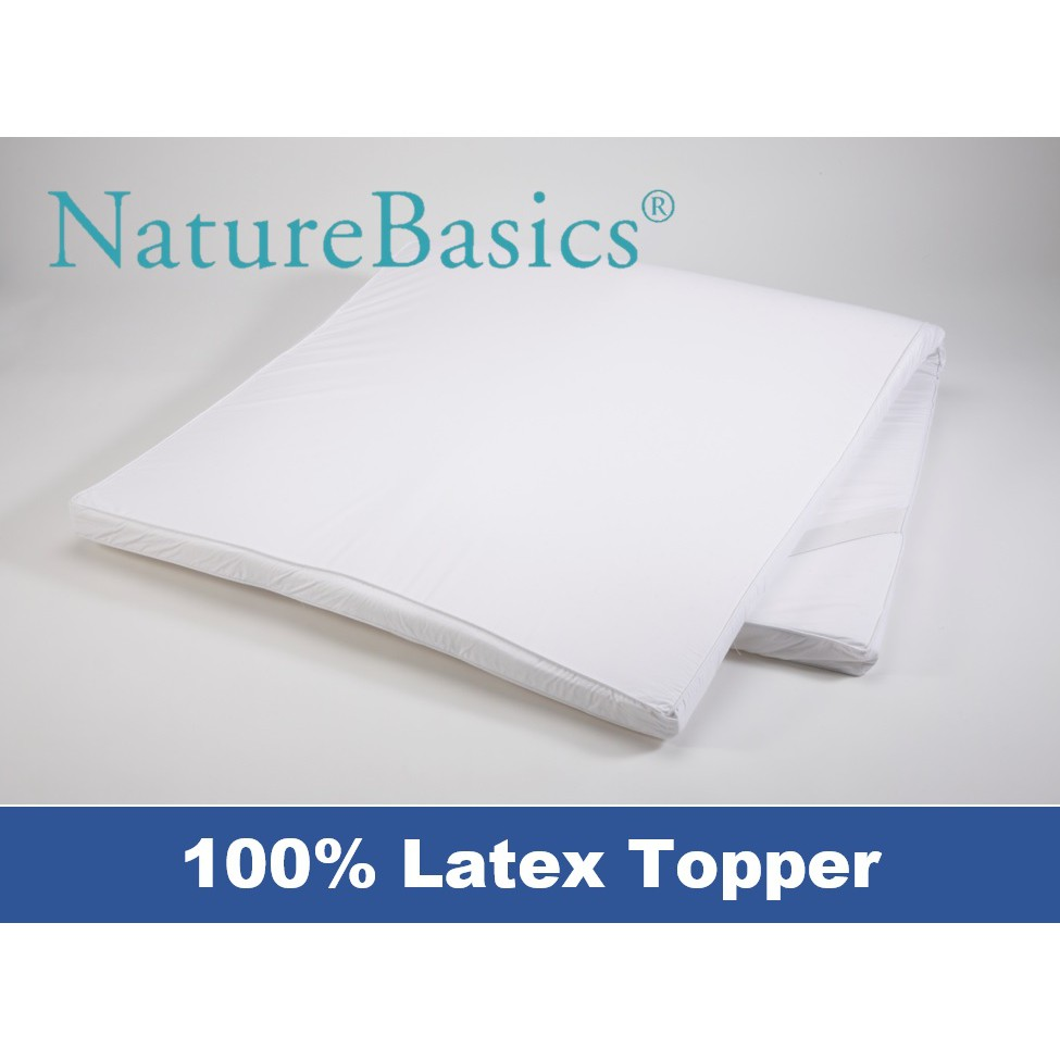 Nature Basics 100% Latex Topper/Overlay | Fabric: 100% Cotton | Filling: 100%  Latex | Height: 5cm | Size: S,S/S,Q,K | Shopee Singapore