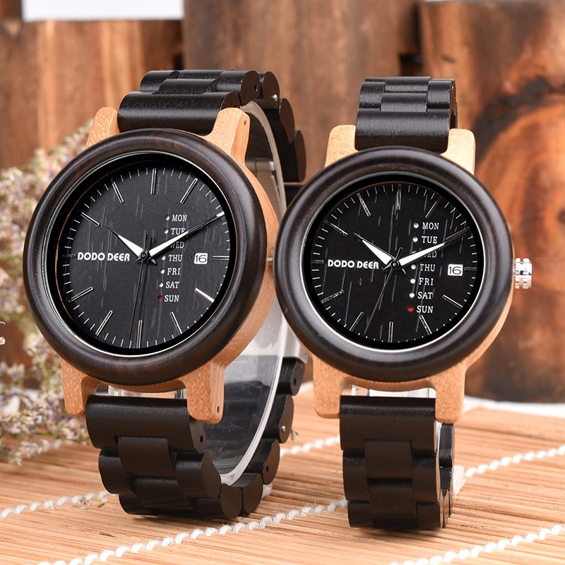 c5c99ecc51 DODO DEER Fashion Vintage Bamboo Wooden Quartz Watches Couple Gift with  Calendar