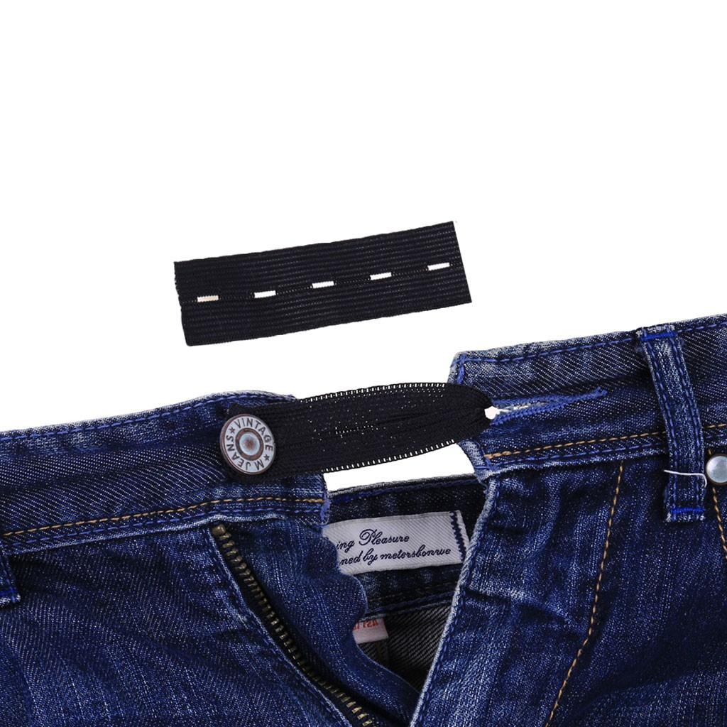 5x Waist Band Extenders Trousers Skirts Expander No Sew Hooks 3 Holes Black
