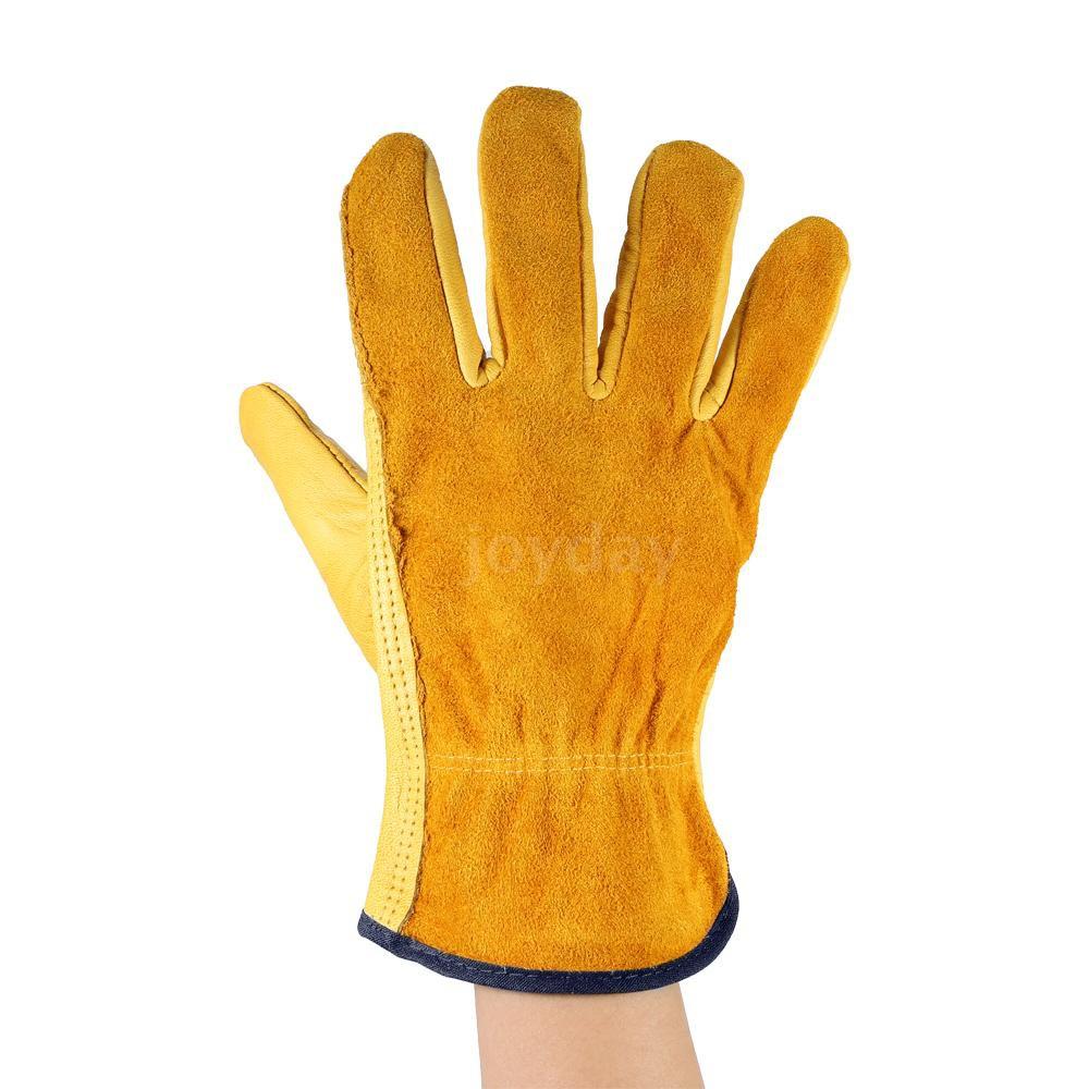 Leather Working Glove Men/'s Safety Work Cowhide Non-Slip Gloves W// Elastic Wrist