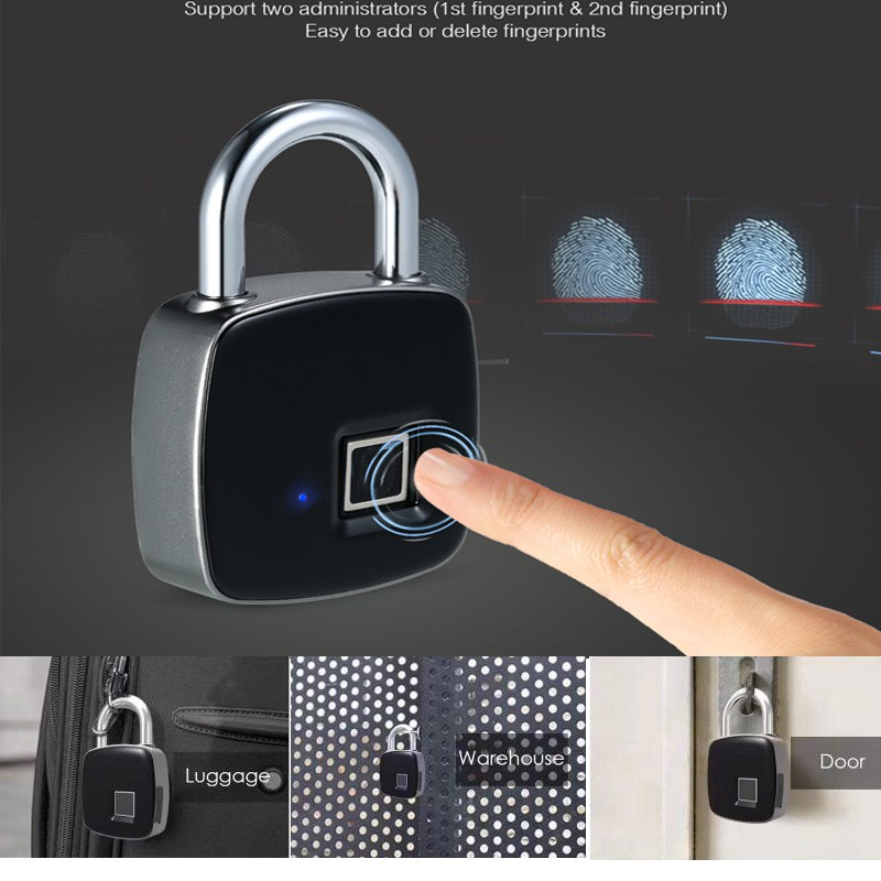 L1 Keyless Fingerprint Lock Waterproof Smart Keyless Fingerprint Lock For Travel Journey Trunk Suitcase Luggage Baggage Boarding Electric Lock