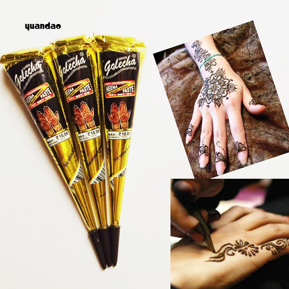 Yuan 3pcs Natural Plant Hand Painted Cone Tattoo Paste Temporary Body Art Painting Shopee Singapore