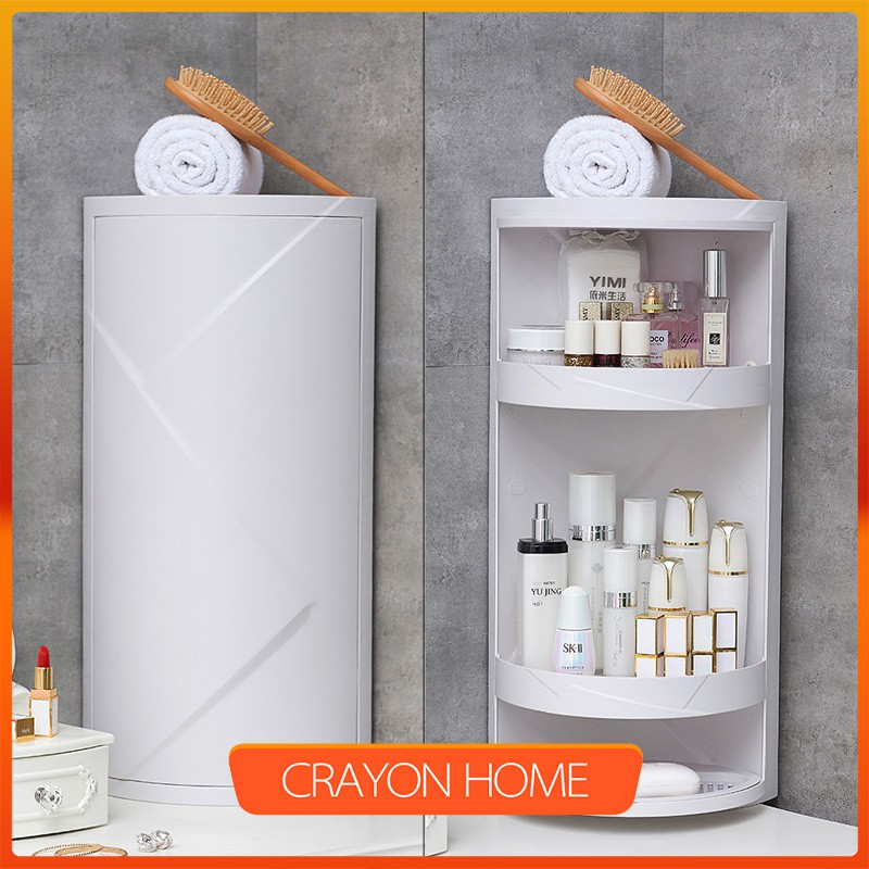 C H Bathroom Corner Rotary Triangle Shelf Wall Storage Cabinet Dustproof Rack