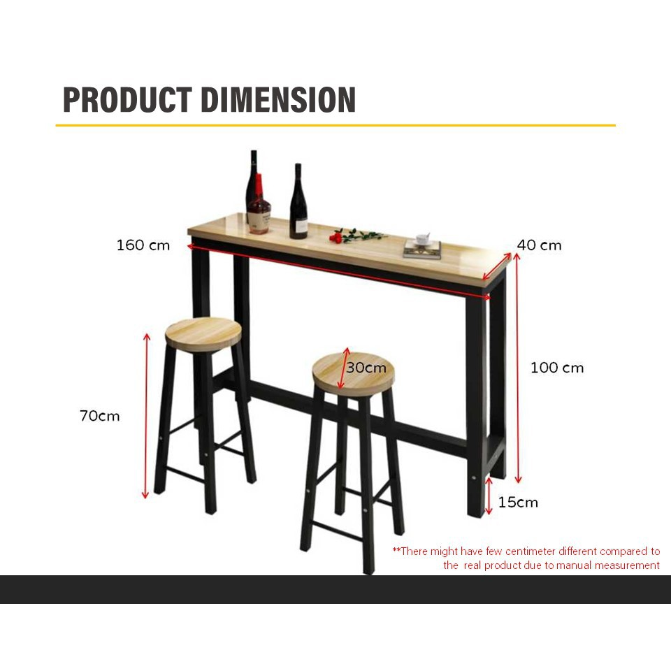KIEL Living Room Simple Bar Table Set with 8 Stool -Free Delivery &  Installation