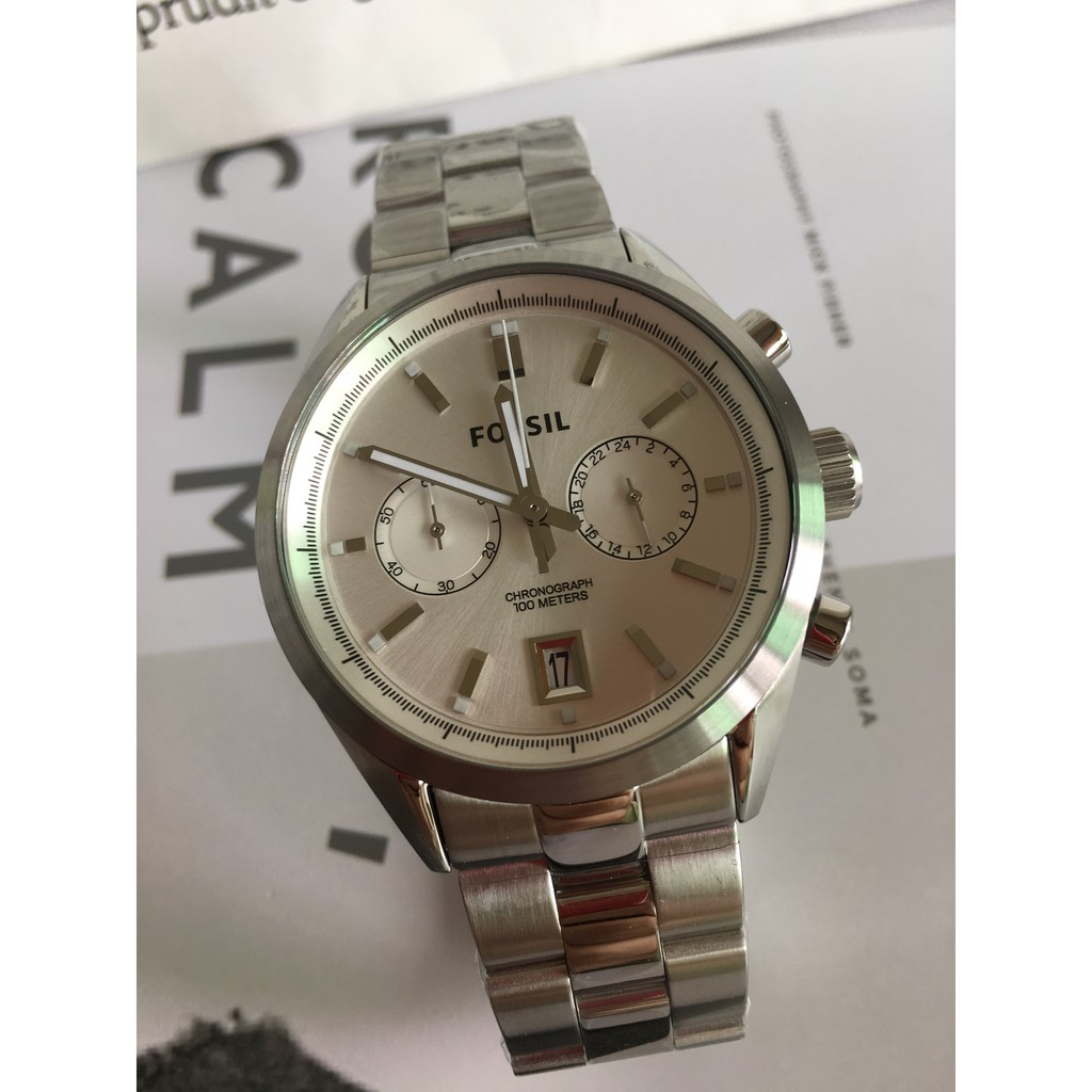 Fossil Original Watch Nate Chronograph Stainless Steel Men Jr1527 50mm Black Dial Two Tone Shopee Singapore