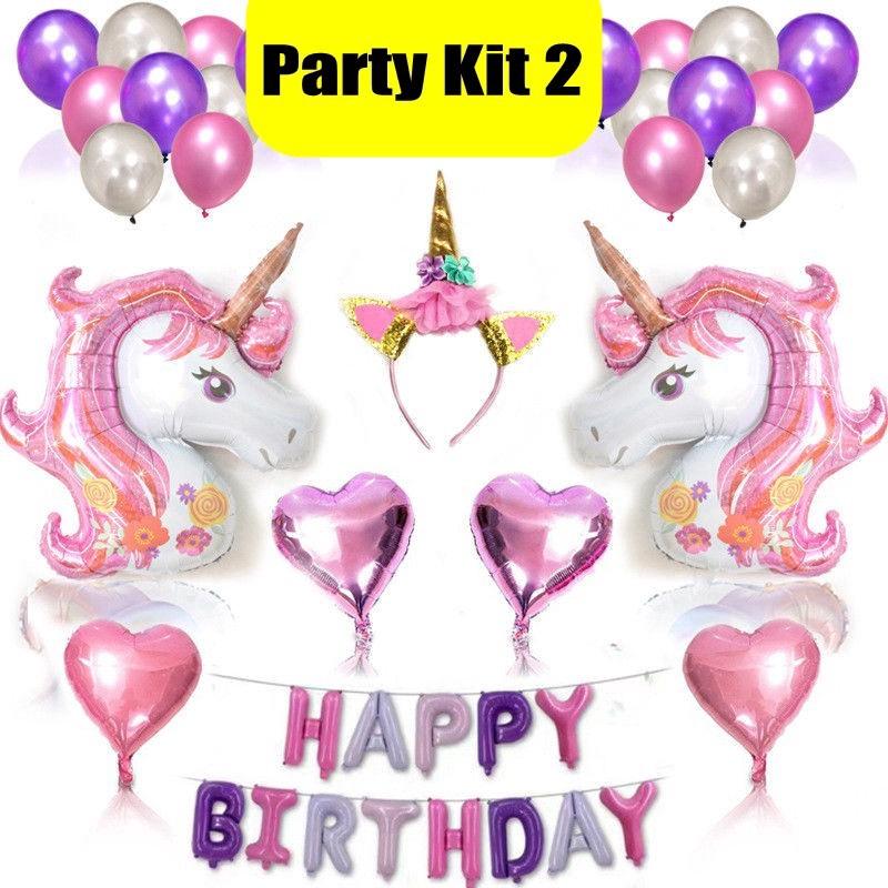 1~10x Magical Cartoon Unicorn//Flamingo Foil Balloons Birthday Party Decorations
