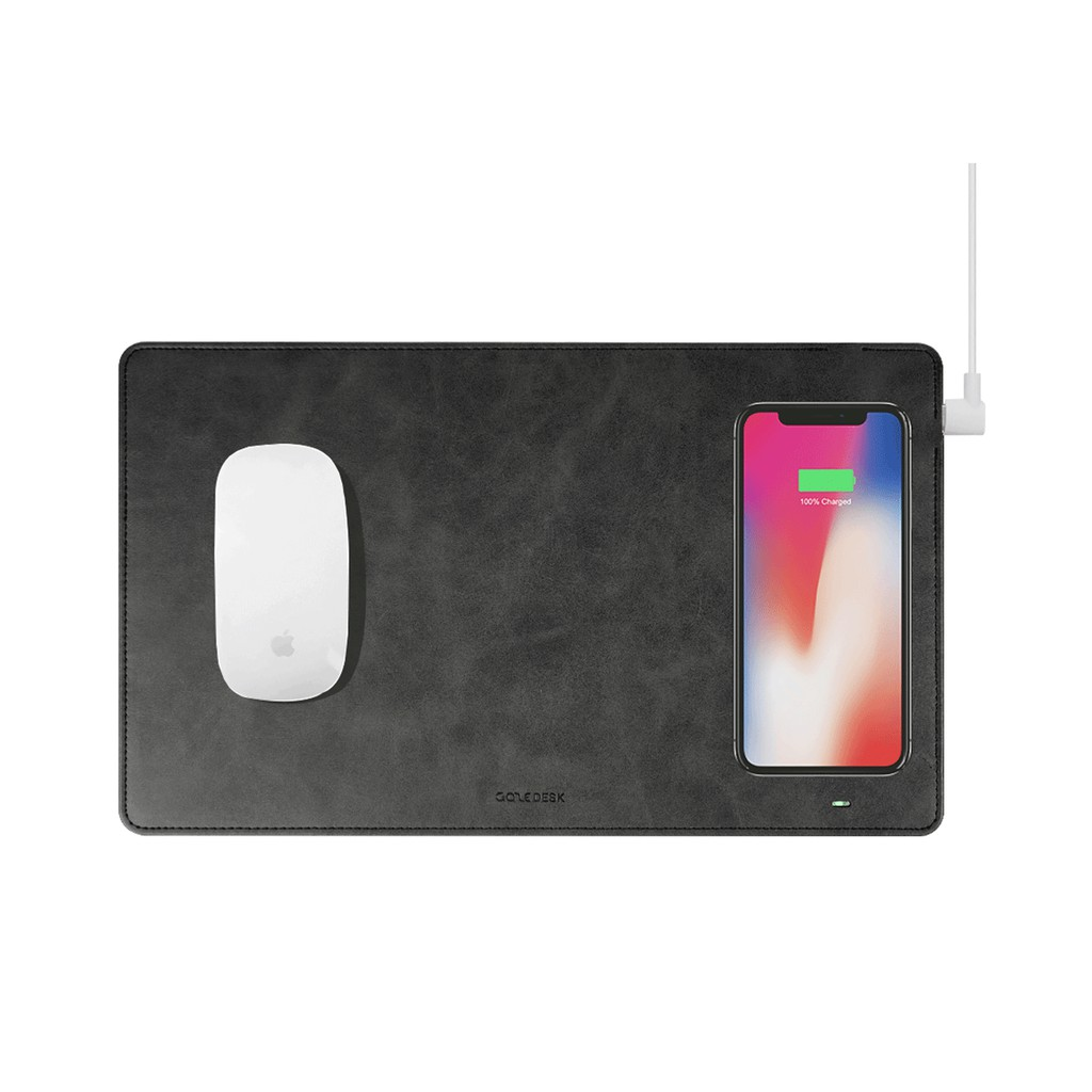 Qi Wireless Charger Mouse Pad 2 in 1 Charging Mat Mouse Pad Built-in Wireless Charger for All Qi Devices Android iOS Phone Color : Beige