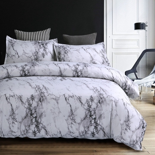 4 In 1 Fitted Bed Sheet Set Marbling Printing Pillow Case Flat Sheet