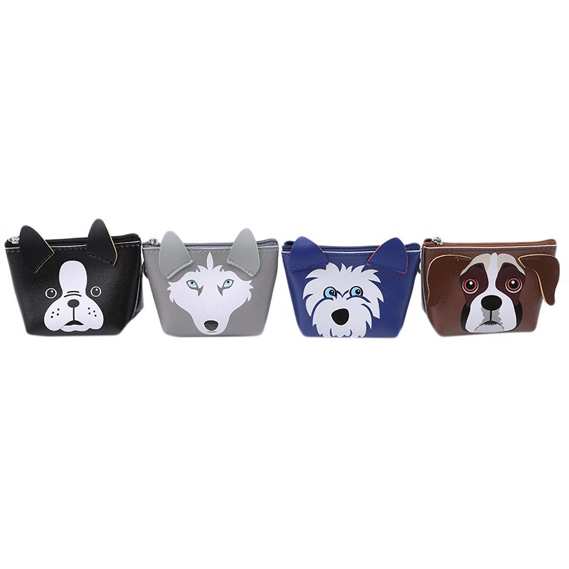 Women LeatherCartoon Dogs Collection Wallet Large Capacity Zipper Travel Wristlet Bags Clutch Cellphone Bag