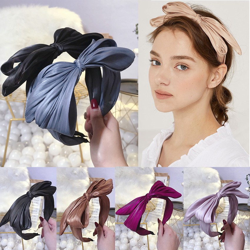 New Arrival Vintage Women Hairband Solid Color Soft Cross Knotted Headbands Wide/Satin Ribbon Turban Bezel For Hair Accessories,3