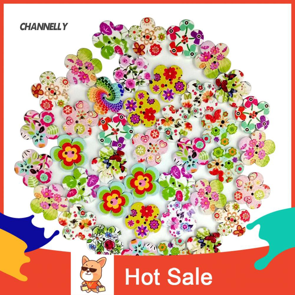 100 Wooden Snowflake Flowers Buttons Sewing DIY Craft 2 Holes Embellishment