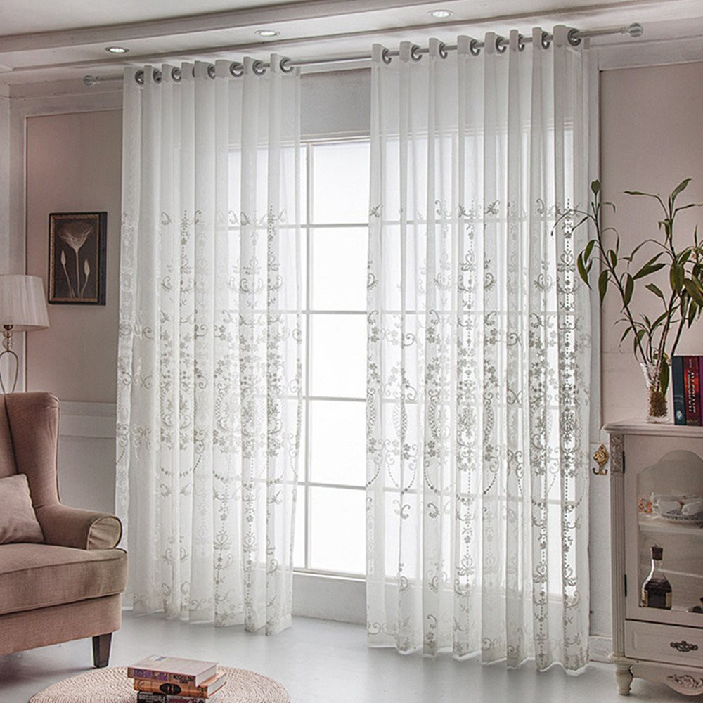 Country Style Sheer White Curtains For Living Room Embroidery