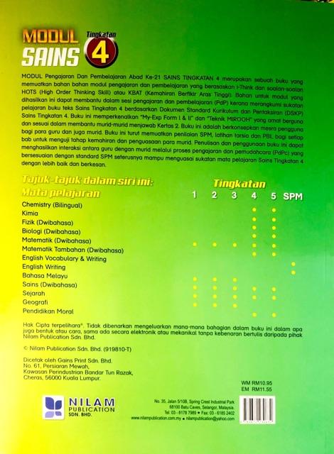 Nilam Publication Modul Pak 21 2020 Sains Tingkatan 4 Shopee Singapore