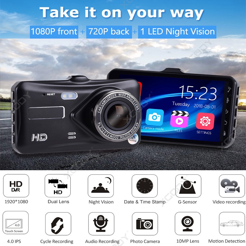 "XGODY 4/"" Vehicle 1080P Car Dashboard DVR Camera Video Recorder Dash Cam G-Sensor"