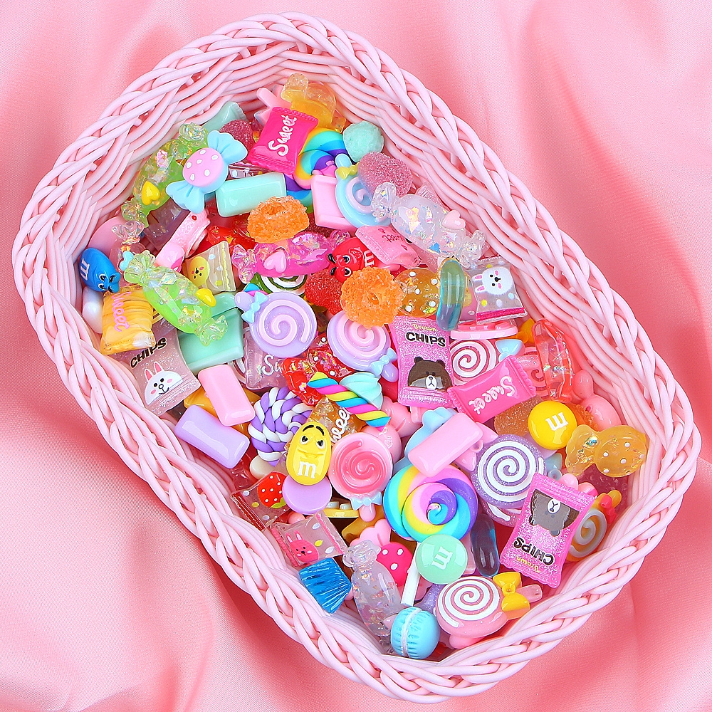 40 pcs Polymer Clay Cabochons Fruits Slices Many Kinds Slime Charms DIY Jewelry