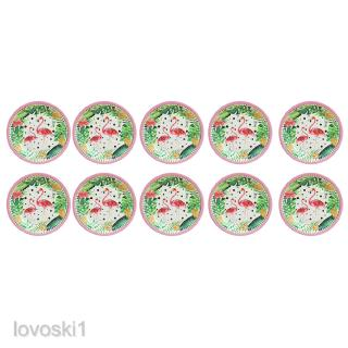 Lovely 10pcs Gilded Watercolor Flamingo Paper Plates Disposable Party Tableware