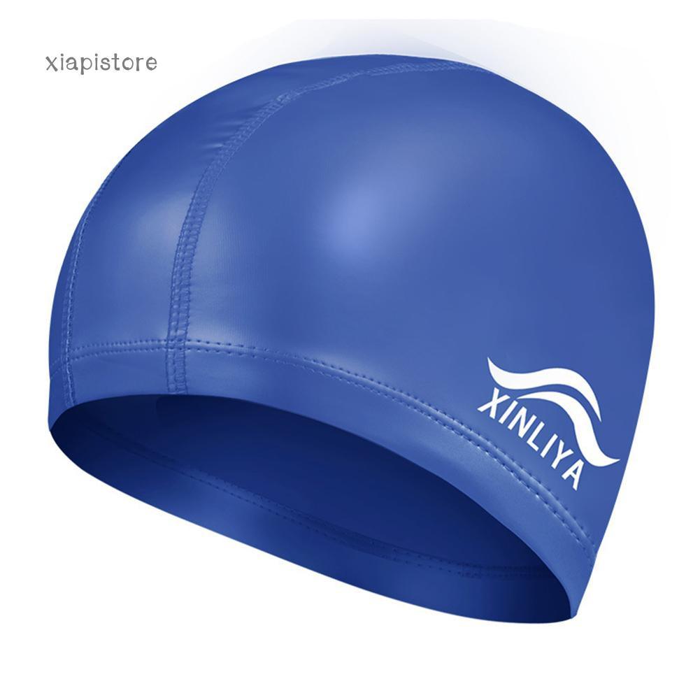 25212a07235 Fashion Men Women Faux Leather Waterproof Swimming Cap Hair Ears Protection  Hat