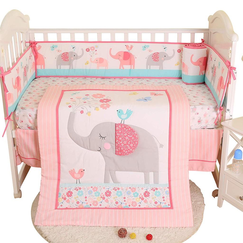 7pcs Set Girls Baby Crib Bedding Sets With Bumpers Sheet Comforter Cotton Elephant Baby Nursery Cot Bedding Set Shopee Singapore