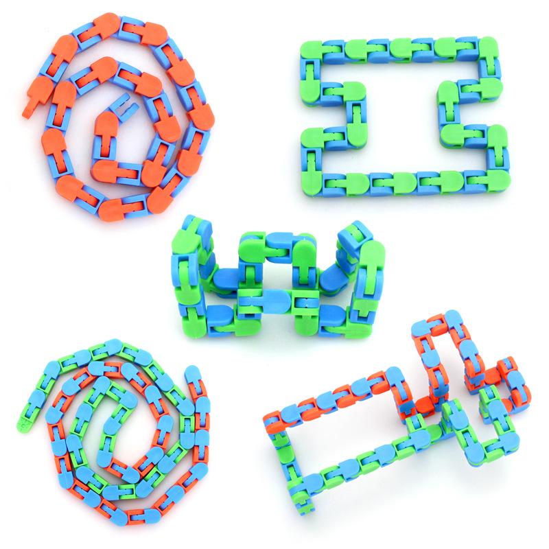 56CM Multicolor Wacky Tracks Snap and Click Fidget Toys Kids Snake Puzzles Classic Sensory Toy