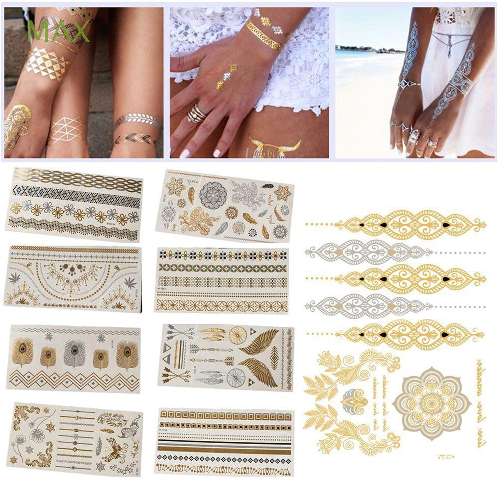 Tool Beauty Removable Temporary Body Art 3d Gold Tattoos Stickers Waterproof Shopee Singapore