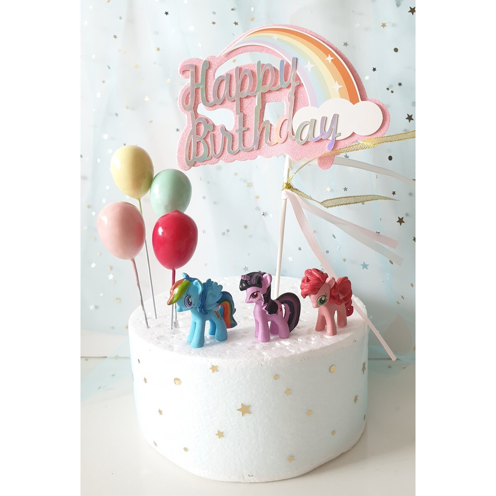 Cool Cute My Little Pony Birthday Cake Topper With Balloons My Little Personalised Birthday Cards Paralily Jamesorg