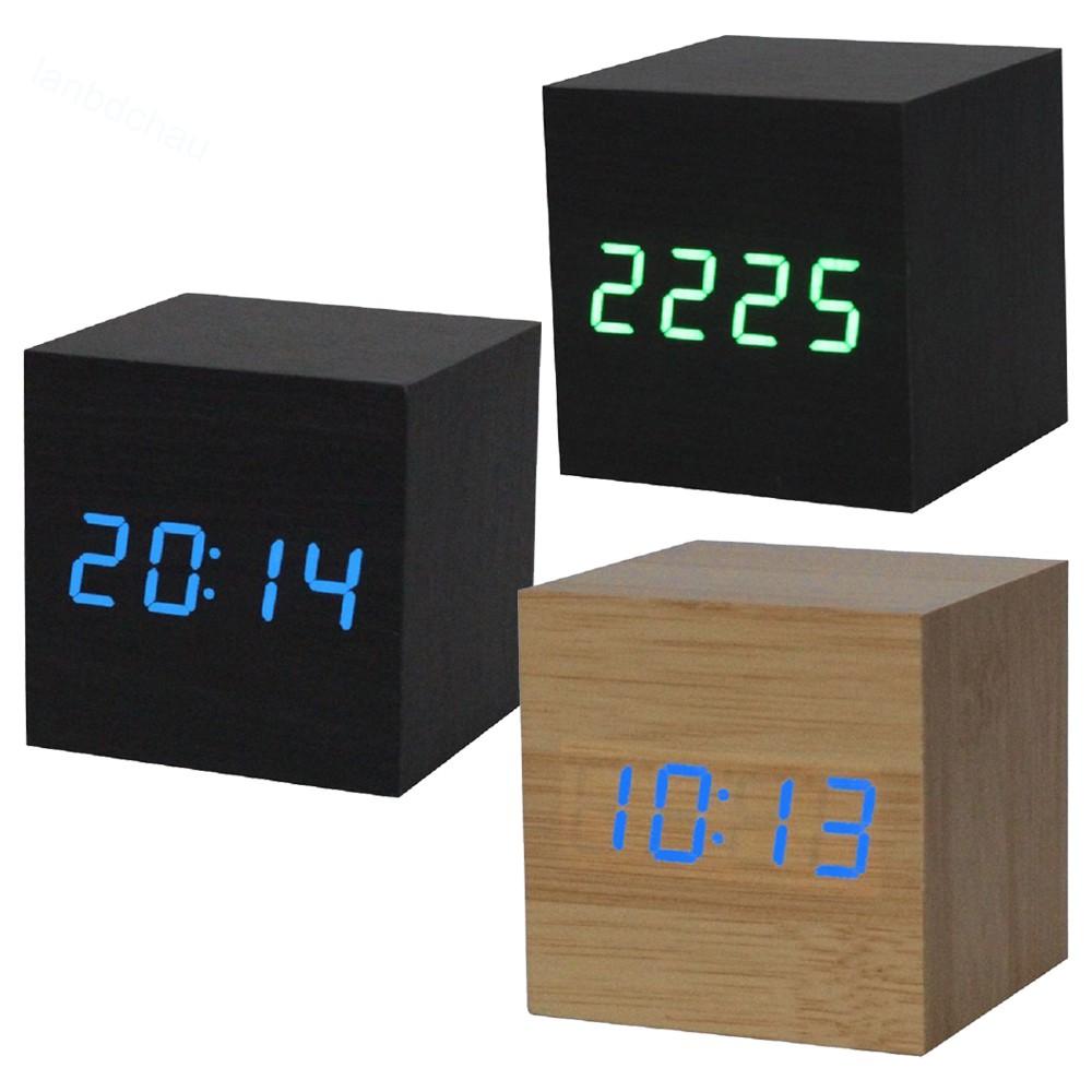 Digital Desk Clock Wooden Style Room Temperature White wood white led  lanbdchau