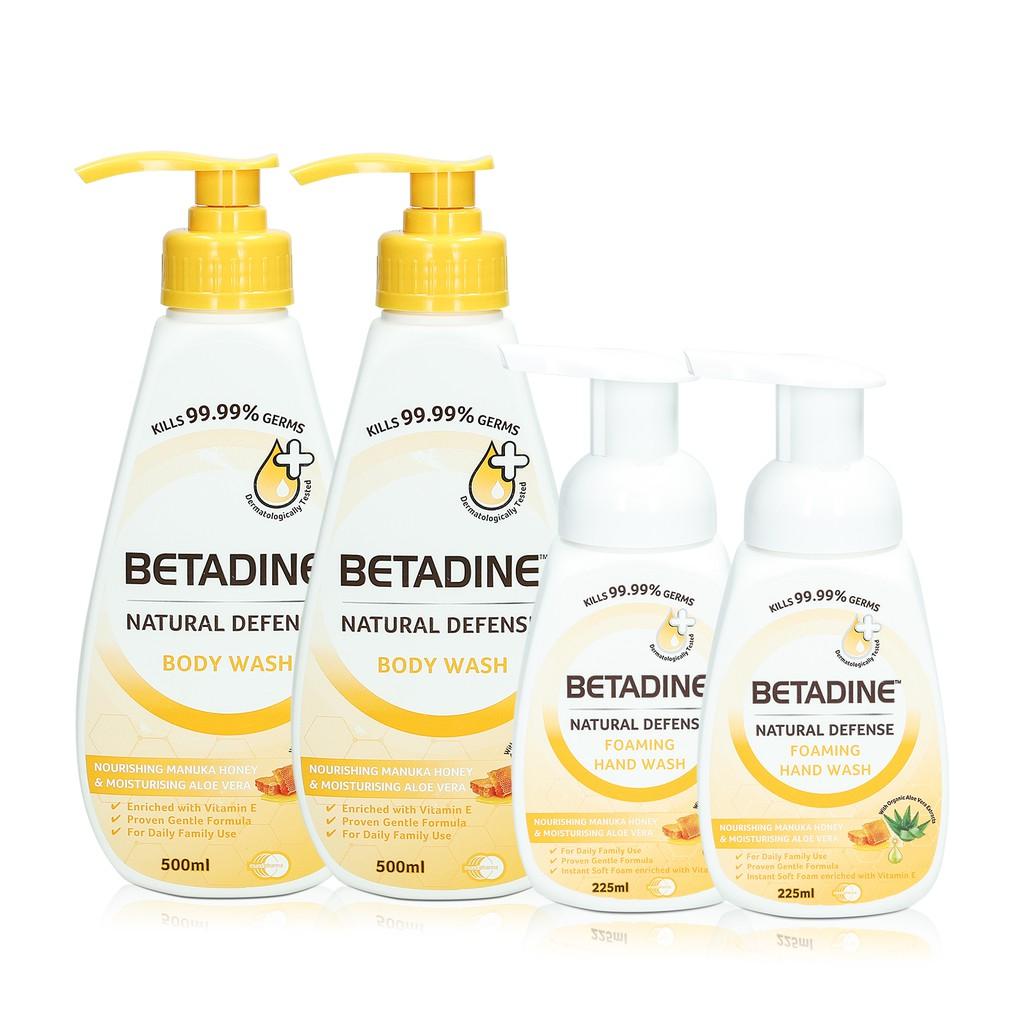 ccff971b6ff6d Betadine Natural Defense Body Wash x2 + Hand Wash 225ml x2