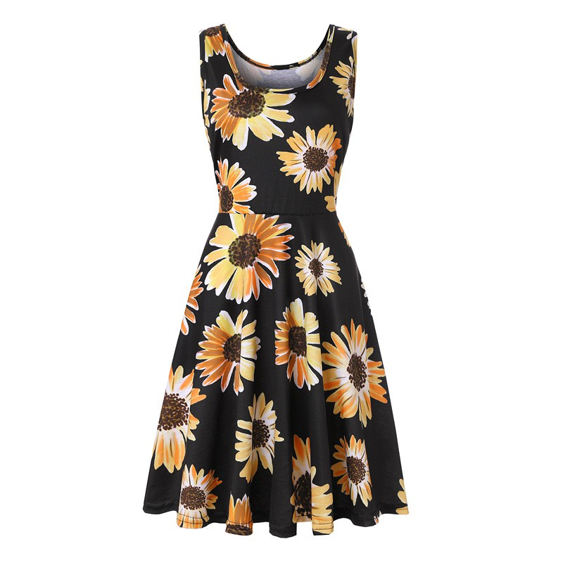 Womens Vintage Floral Print Polyester Casual Sundress