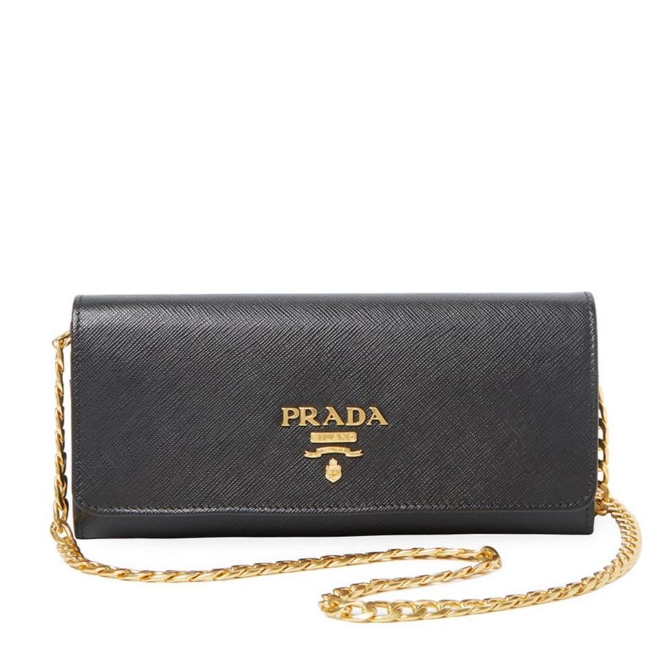 a9a6f58056b4 Prada Saffiano Leather Wallet on Chain 1MT290 - Black | Shopee Singapore