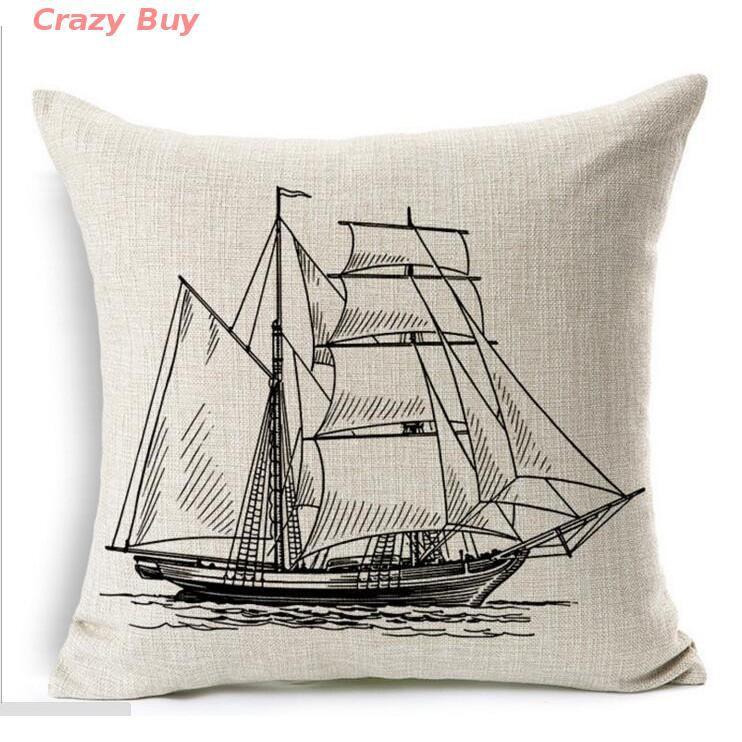 【TopDay】Card sailing sea sail boat sailor linen ing cushions brand new