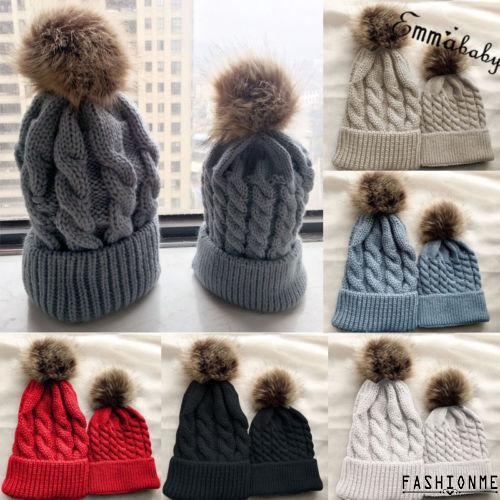 Mom Mother Baby Turban Knot Pom Bobble Hat Kids Girl Boys Winter Warm Beanie Cap