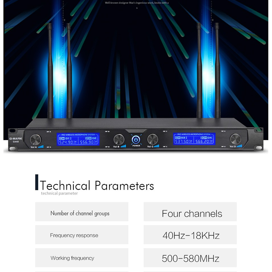 G-MARK G440 Wireless Microphone System Professional 4 Channels UHF Dynamic Handheld Microphone Karaoke Mic Party Stage