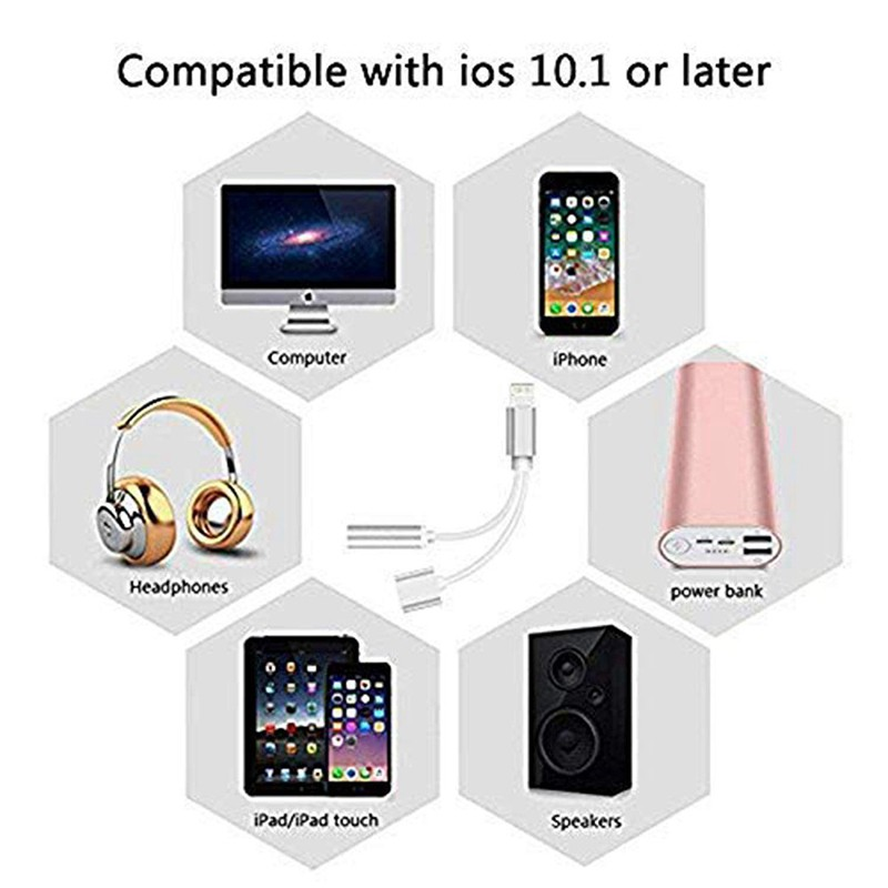 for Lighting Adapter Headphone Jack to 3.5mm Dongle for iPhone Xs//XR//XS Max//X //8//8Plus 7//7Plus 6//6Plus.Earphone Adaptor Female Connector Audio Cable Earbuds Aux Converter Wh 35