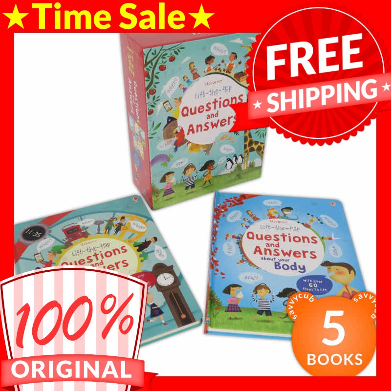 Usborne Lift-the-flap Questions and Answers Box Set (5 Books)