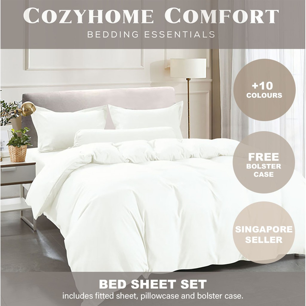 Soft Fitted Bed Sheet Set * Quilt Cover * Plain Colour | Shopee Singapore