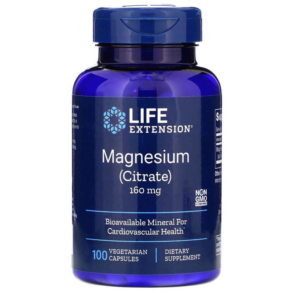 Life Extension Magnesium (Citrate), 160 mg 100 Vegetarian Capsules  Bioavailable Mineral for Cardiovascular Health