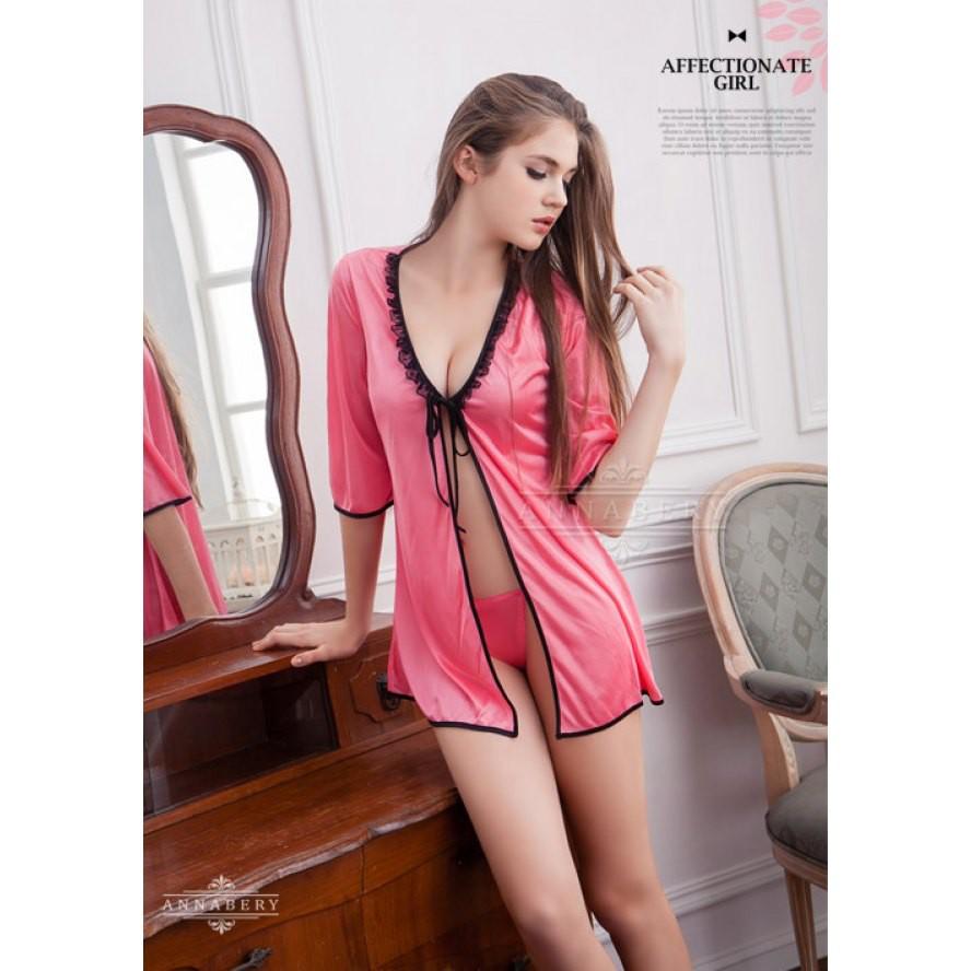 57643af38 AnnaBery - 2Pc Black Lace Gunbian Smock Plus Size Sleep Wear Babydoll  NY14020015