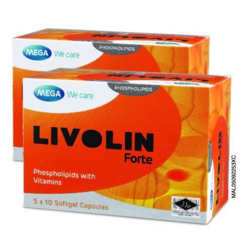 Mega We Care Livolin Forte 50'S x 2 Boxes (For Healthy Liver)  protect the liver from viral, alcoholic and drug induced liver damage.