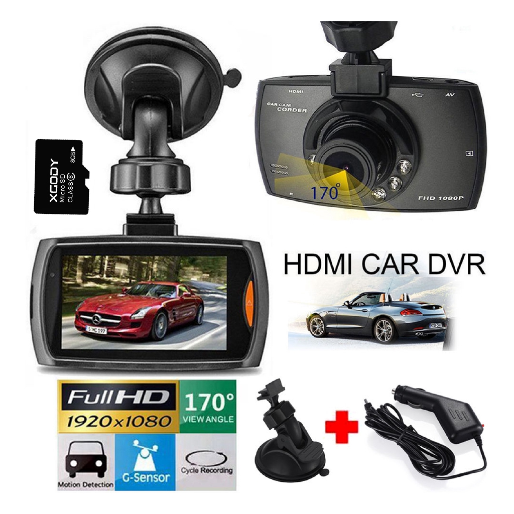 170° Degree 1080P HD Car DVR Dash Vehicle Camera Video Recorder Cam Night  Vision G-Sensor D828 + 8G TF Card