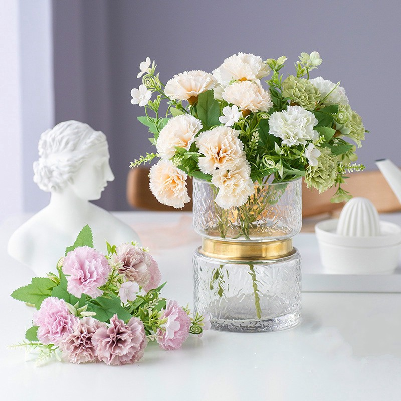 30cm Spring Carnation Fake Flower Vase Flower Arrangement Living Room Wedding Decoration Shopee Singapore