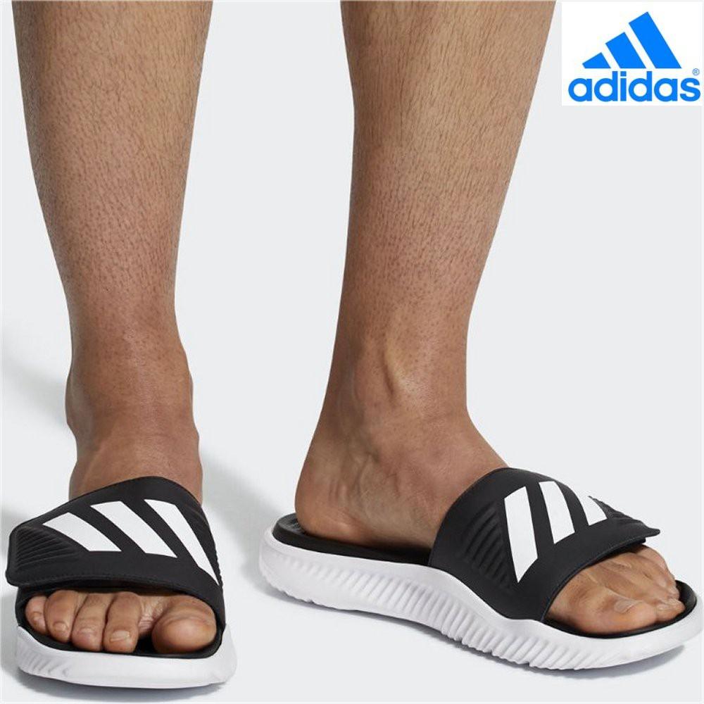 09f3b2f5b736 Adidas Men Swimming Alphabounce Basketball Slides BA8775 Black White ...