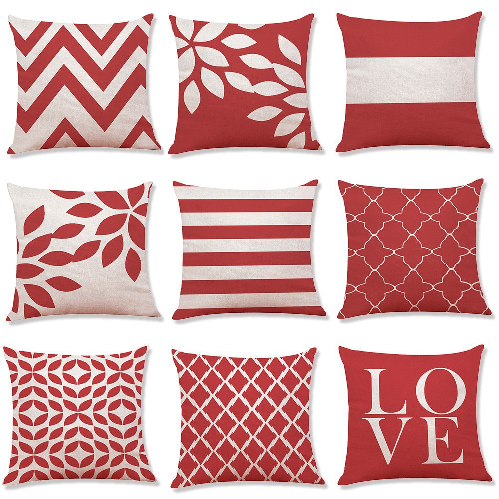 Red Striped Geometric Cushion Cover Linen Sofa Car Bed Pillow Case Home  Decor